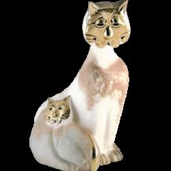 Chat en céramique et or de 23k mère et enfant de Pauline Pelletier