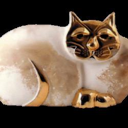 Chat en céramique et or de 23K Pauline Pelletier