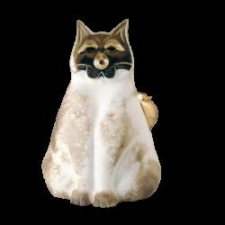 Chat en céramique et or de Pauline Pelletier