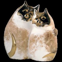 Chat en céramique et or de 23K de Pauline Pelletier
