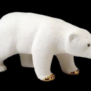 Ours polaire en céramique et or de 13K de Pauline Pelletier